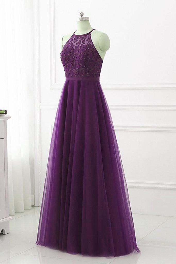 Charming Purple Long Simple Cross Back Prom Dress, A-line Formal Dress