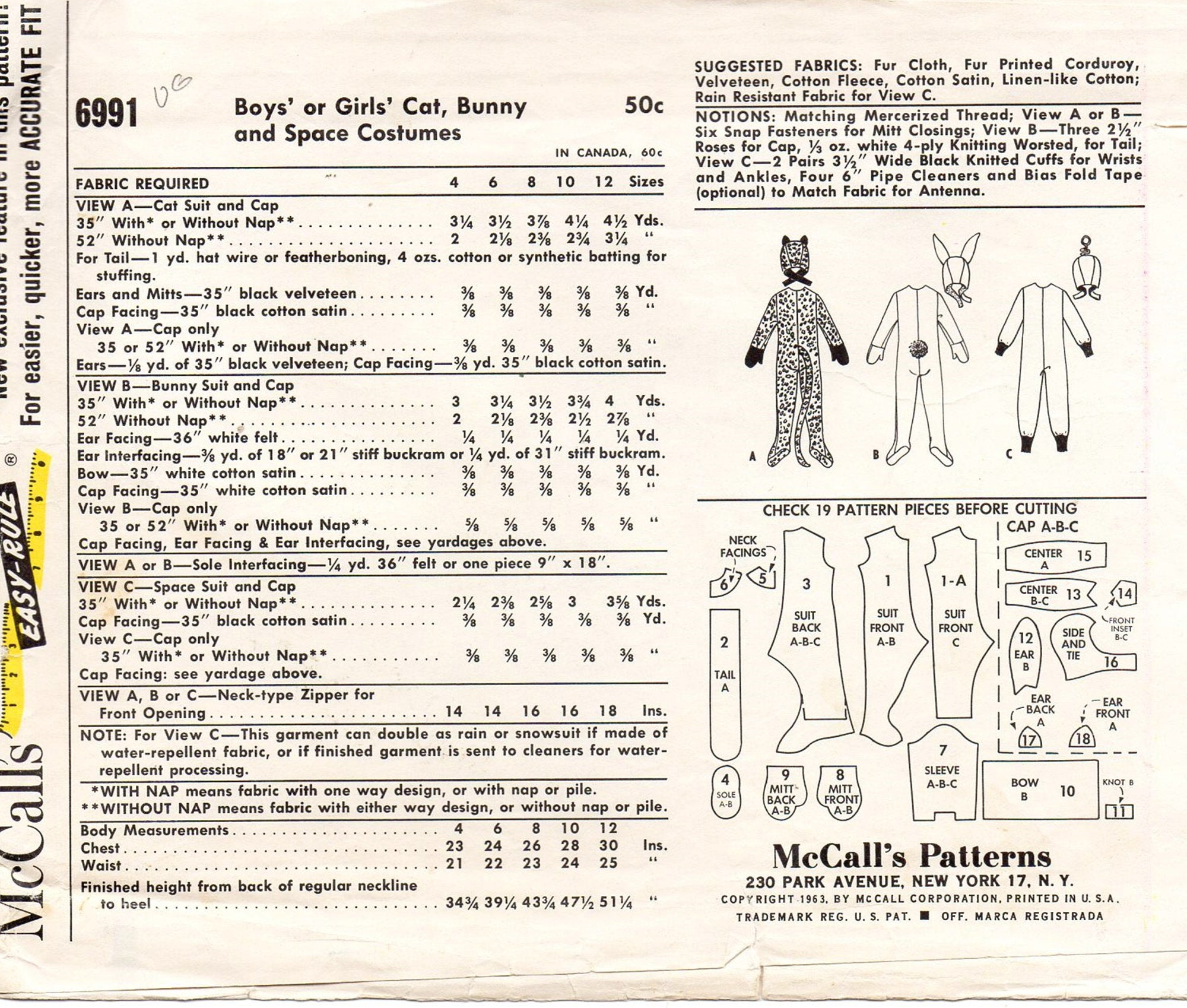 McCall's 6991 Boy, Girl Cat, Bunny, Space Costume 60s Vintage Sewing Pattern