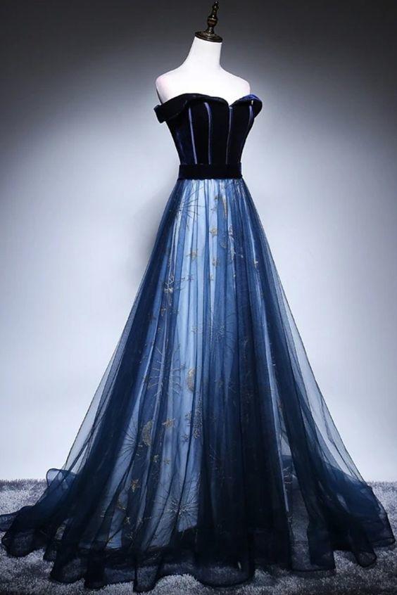 Off the shoulder navy blue formal prom dress M9459