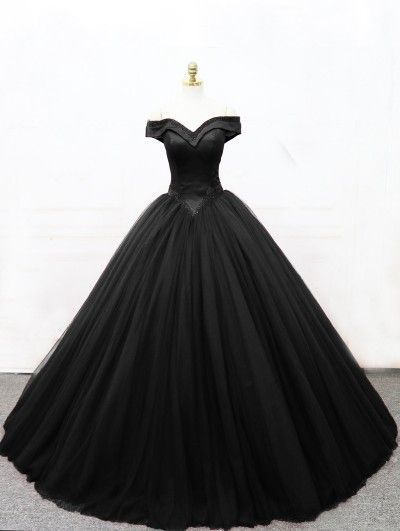 Black Gothic Princess Ball Gown, Off The Shoulder Prom Dress  M9460