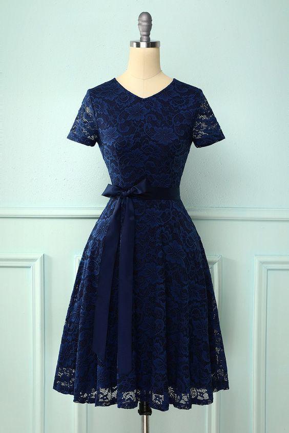Navy Short Sleeves Lace Homecoming Dress M9464