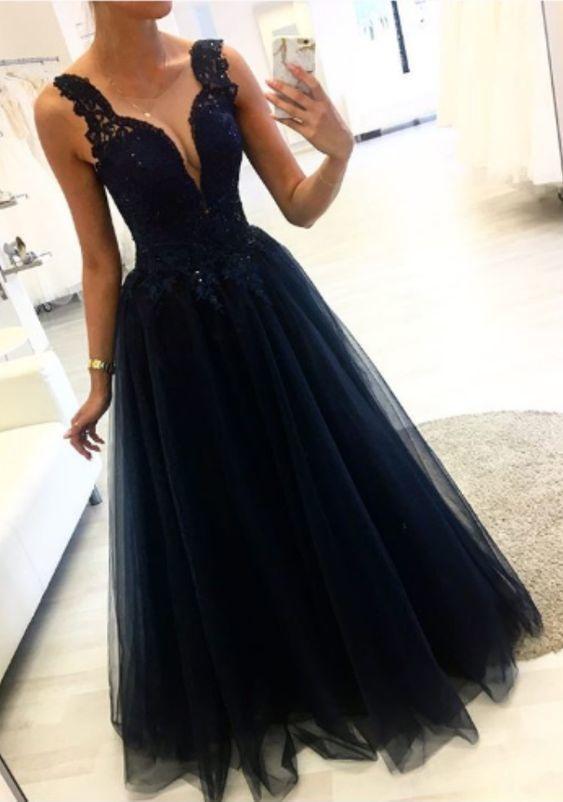 Dark Navy Prom Dress,Long Tulle Evening Dress M9465