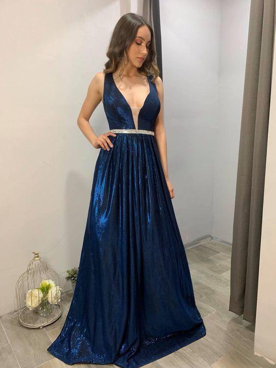 A-line V Neck Shiny Prom Dress With Belt M9467