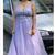 Lavender Prom Dresses Long, A Line Lace Formal Evening Dresses V Neck M9472