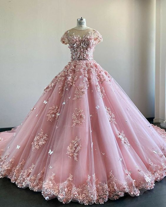 Pink Lace Tulle Prom Dress , Charming Ball Gown M9474
