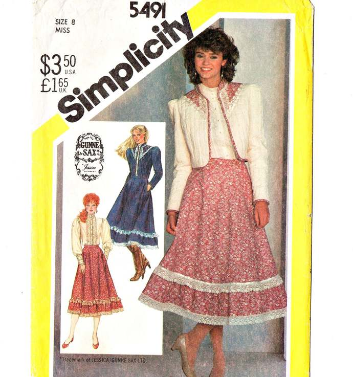 Simplicity 5491 Misses Gunne Sax Skirt, Blouse, Jacket 80s Vintage Sewing