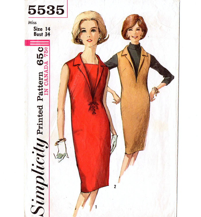 Simplicity 5535 Misses Sheath Dress, Jumper 60s Vintage Sewing Pattern Size 14