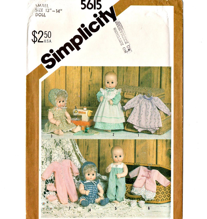 Simplicity 5615 Baby Doll Wardrobe 80s Vintage Sewing Pattern Tiny Tears Uncut