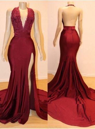 Charming Backless Appliques Burgundy Mermaid Split Slit Prom Dress M9493