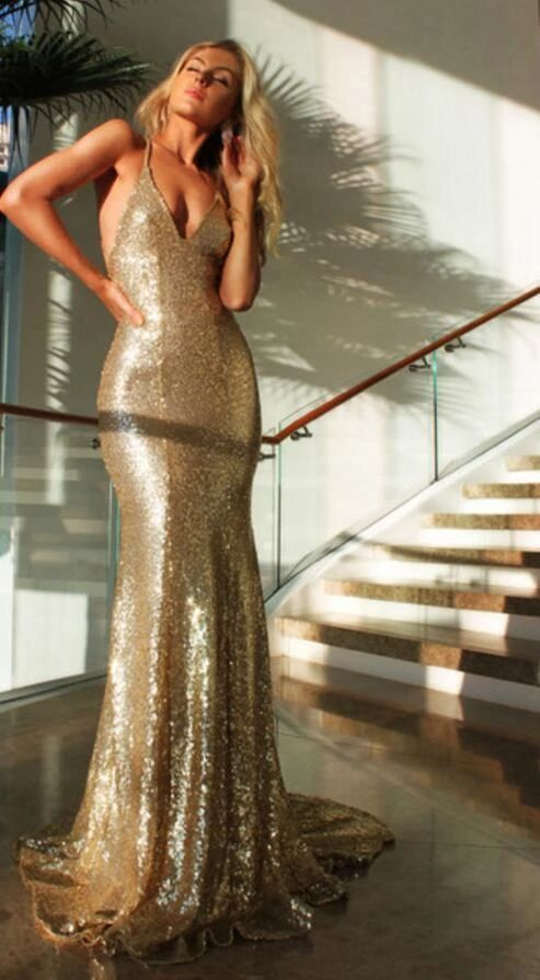 Sexy Backless Mermaid Sparkly Green Sequin Long Prom Dresses M9494