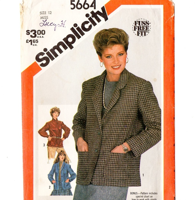 Simplicity 5664 Misses Unlined Jackets 80s Vintage Sewing Pattern Size 12 Bust