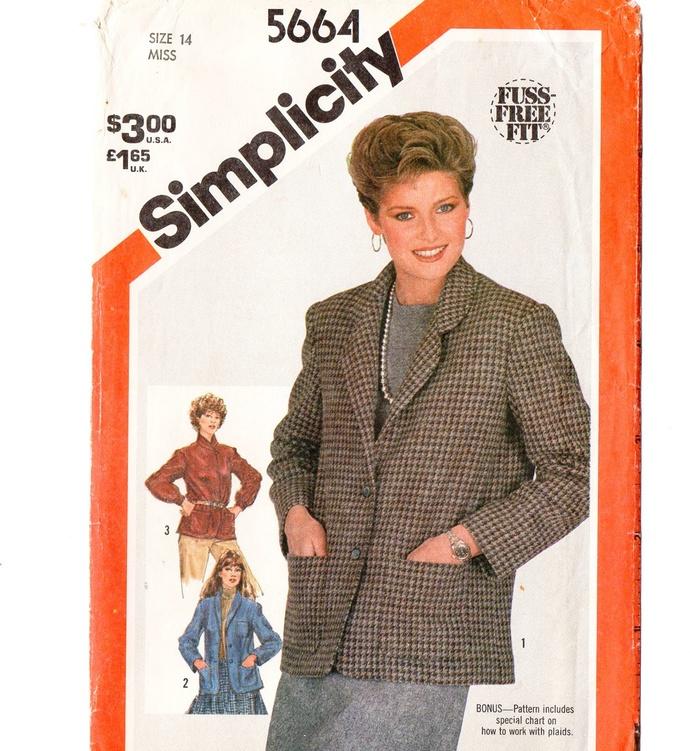 Simplicity 5664 Misses Unlined Jackets 80s Vintage Sewing Pattern Uncut Size 14