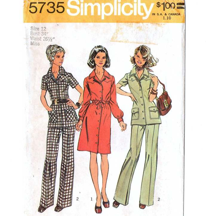 Simplicity 5735 Misses Dress Tunic Pants 70s Vintage Sewing Pattern Size 12 Bust