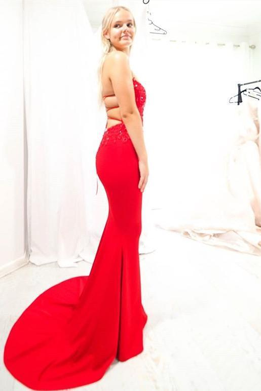 Red Mermaid Strapless Long Prom Dress with Lace-Up Back M9497