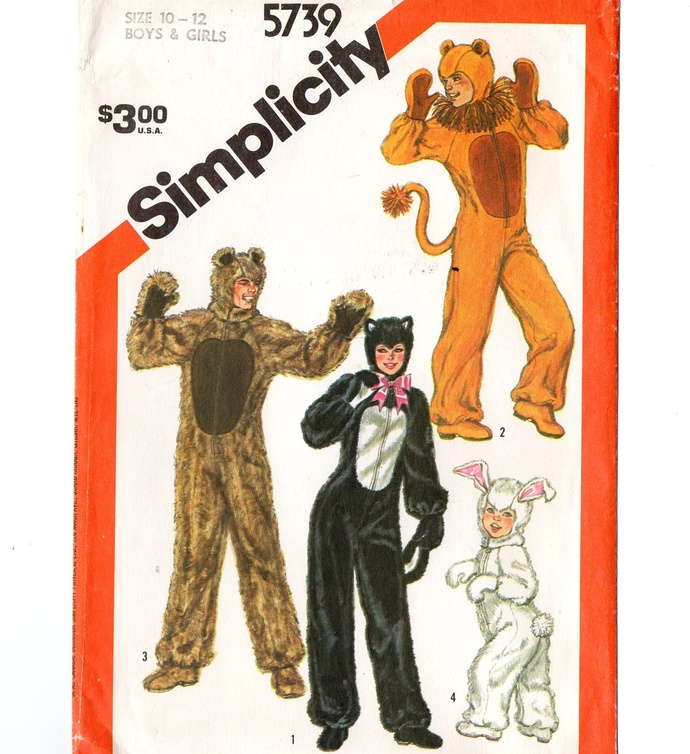 Simplicity 5739 Boy, Girl Animal Costume 80s Vintage Sewing Pattern Uncut Size
