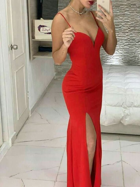 Red Mermaid Straps Long Prom Dress With Split M9499