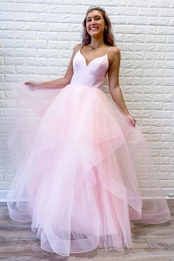 Cute V Neck Fluffy Pink Long Prom Dress, Pink Formal Graduation Evening Dress,