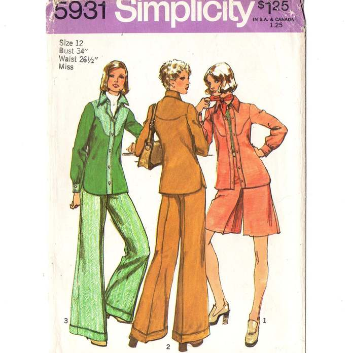 Simplicity 5931 Misses Shirt Jacket, Pantskirt, Pants 70s Vintage Sewing Pattern