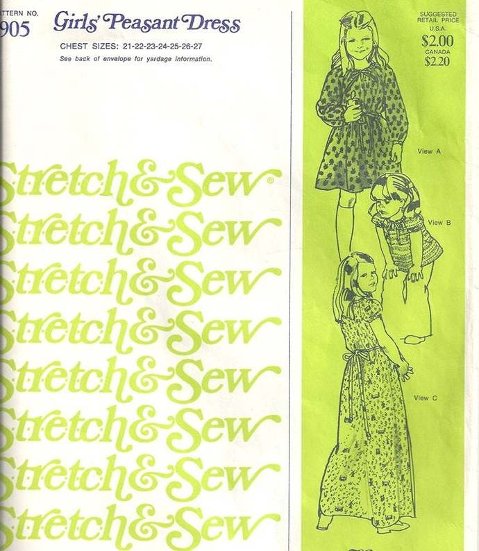 Stretch & Sew 905 Girls Peasant Dress, Top 70s Vintage Sewing Pattern Size 2, 3,