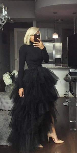 Black Long Sleeves Prom Dress With Tulle M9507
