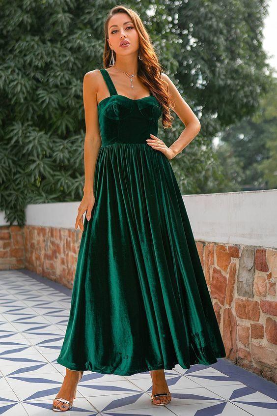 Dark Green Velvet Prom Dress M9510