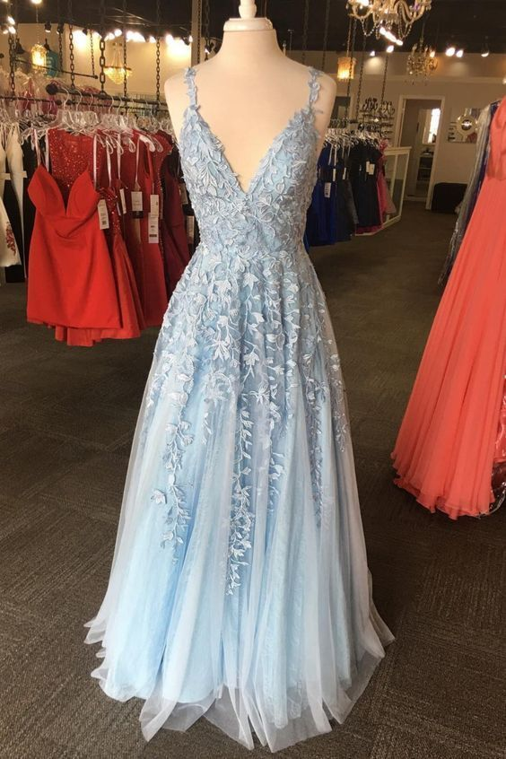 V Neckline Light Blue Long Prom Dress, Princess Prom Dress M9511