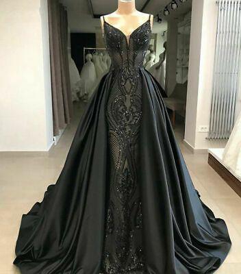 Gothic Black Mermaid Evening Dress Gorgeous Arabic Formal Prom Dress M9512