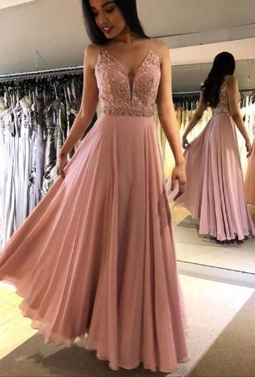 V-Neck Beaded Prom Dress,Pink Prom Dresses M9513