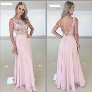 Open Back Pink Prom Dresses , Beading Prom Dress M9514