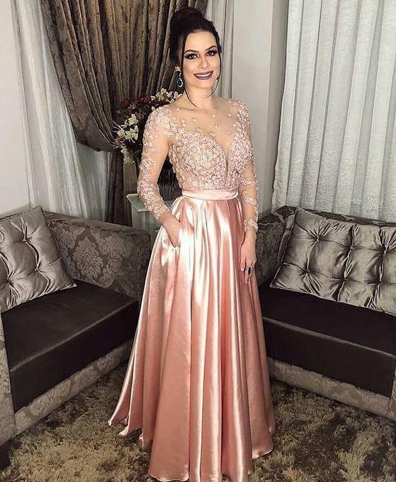 Pink Long Prom Dresses satin Evening Dresses A-Line Formal Dresses M9516
