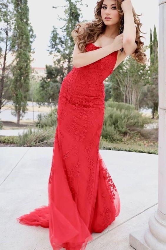 Elegant mermaid red lace long formal prom dress M9518