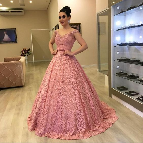 Off the shoulder lace prom dress , ball gown M9523