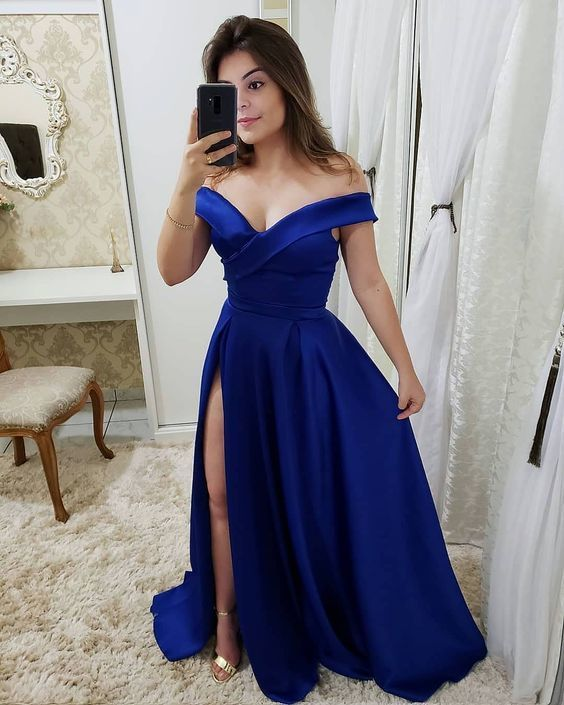 Off the shoulder royal blue satin prom dress M9528