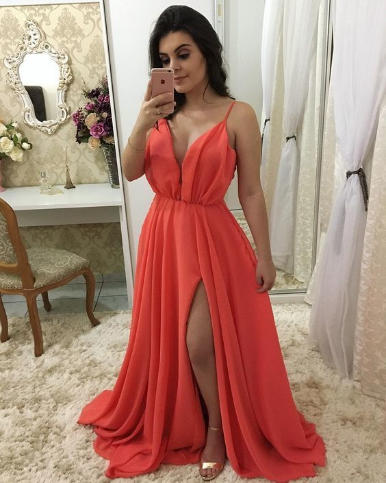 A-line V Neck Spaghetti Straps Long Prom Dress M9529