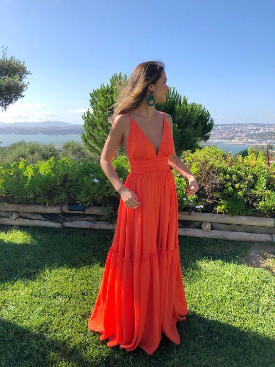 A-line V Neck Orange Prom Dress, Simple Prom Dress M9531