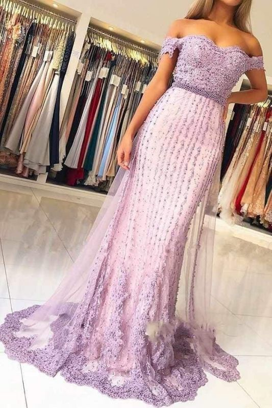 Lilac Off the Shoulder Mermaid Prom with Appliques Charming Beaded Prom Dress