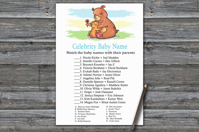 Bear Celebrity Baby Name Game,Bear Baby shower games,baby shower game