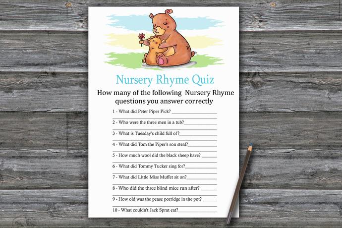 Bear Nursery Rhyme Quiz Game,Bear Baby shower games,baby shower game