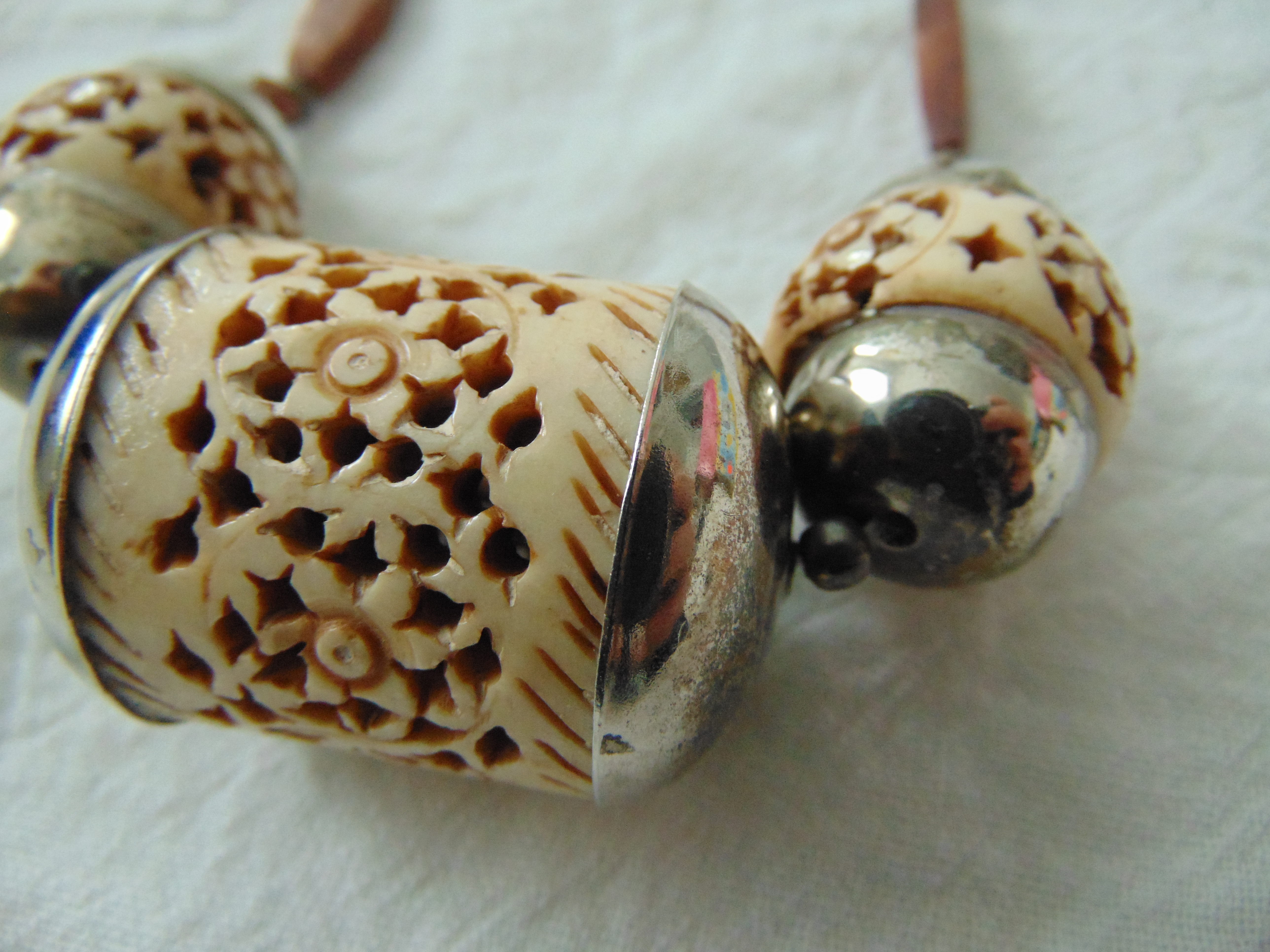 vintage  intricately carved large bone beads highly polished wooded beads ethnic