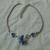vintage unsigned Coro silver blue clear crystals necklace