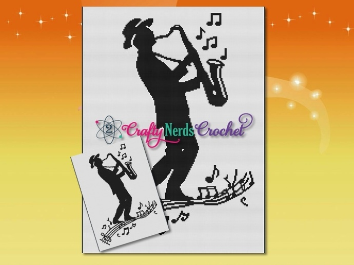 Saxophone Walking On Music Pattern Graph With Single Crochet Written