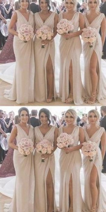 V Neck Tulle Prom Dress, Sleeves Prom Dress Wit Split M9537