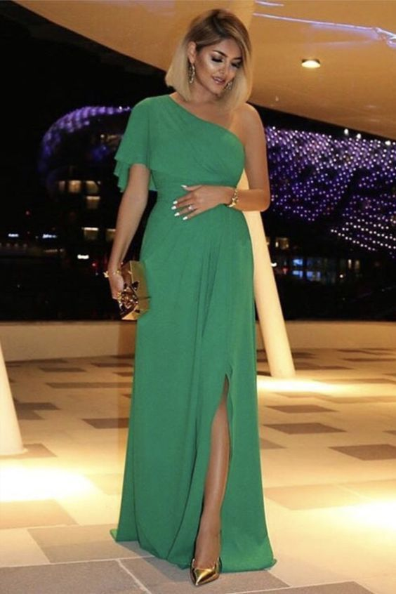 One Shoulder Chiffon Long Prom Dress With Split M9539
