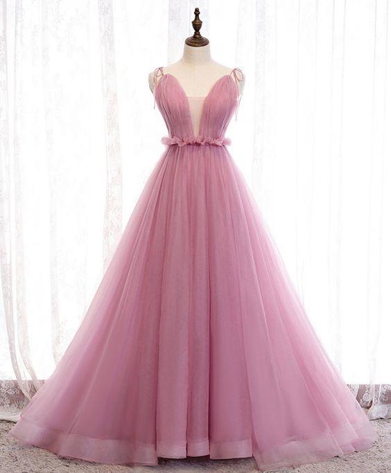Pink v neck tulle long prom dress pink tulle formal dress M9547