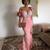 pink evening dresses long handmade flowers lace mermaid modest simple formal