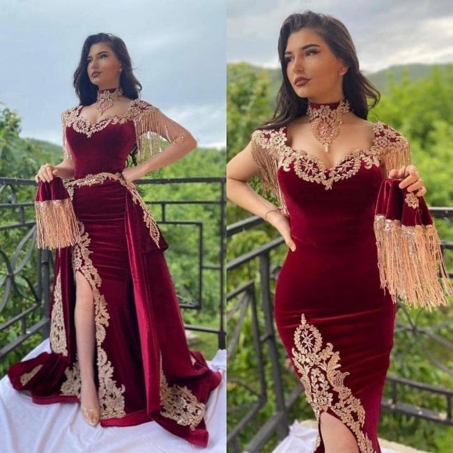 velvet burgundy evening dresses 2021 vintage detachable skirt Muslim arabic Lace
