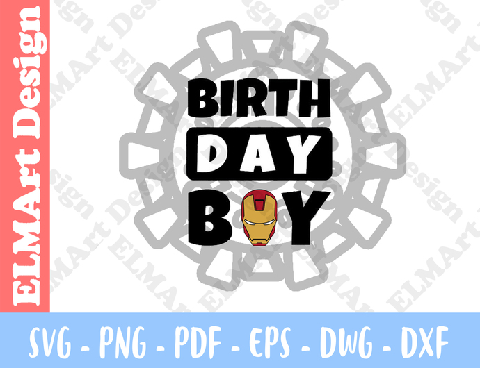 Iron Man Mask birthday boy Clipart 6 Format Files Vector Art Svg Png Pdf Eps Dxf
