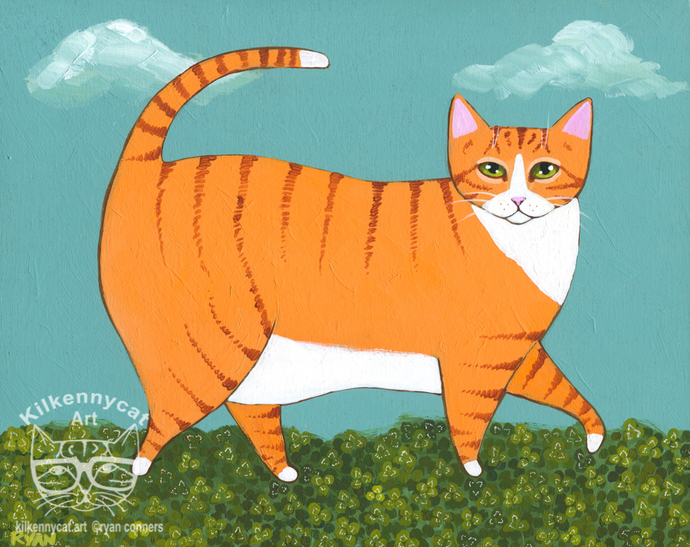 Chonky Ginger in Clover Patch Original Whimsical Cat Folk Art Painting
