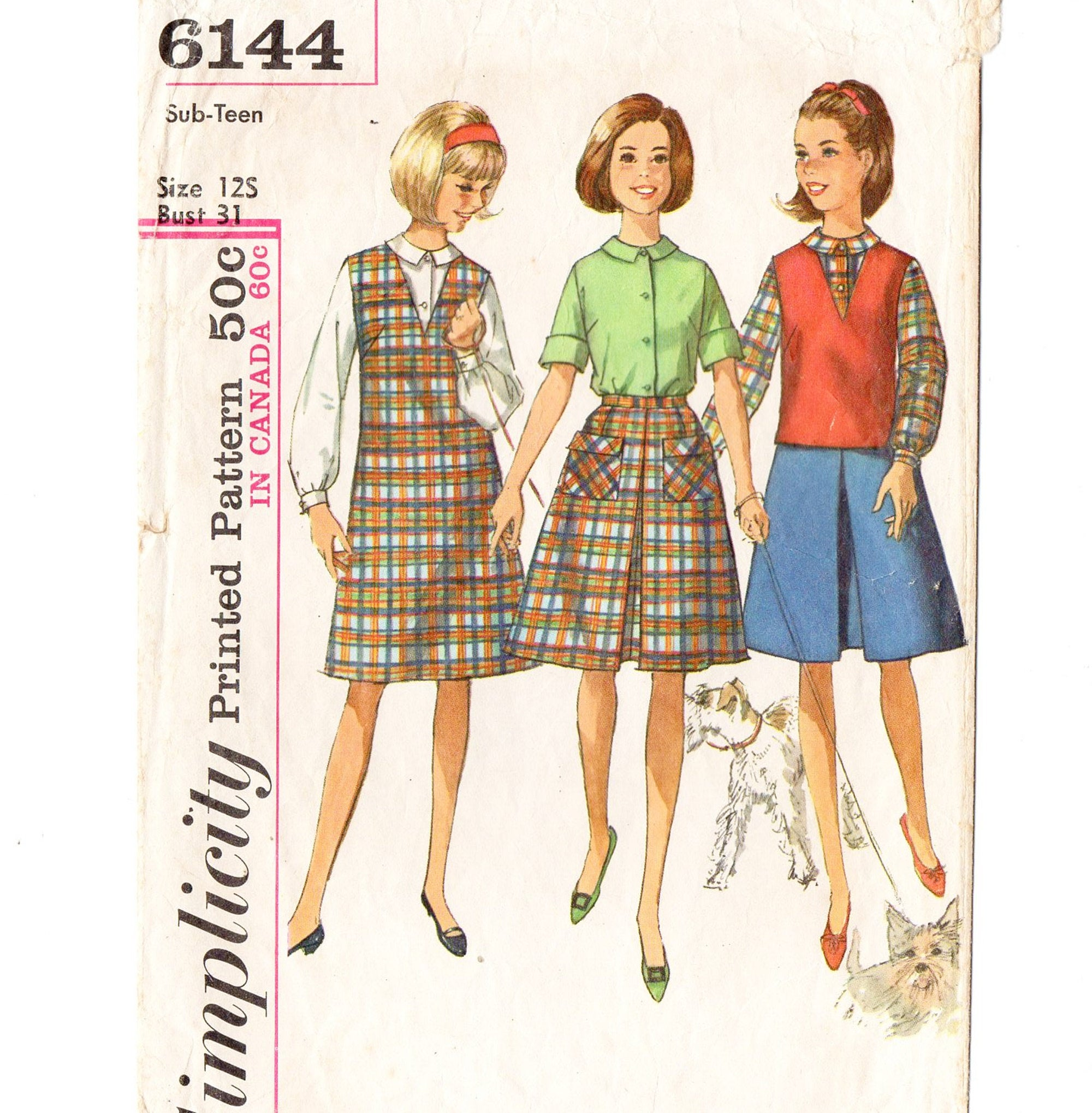 Simplicity 6144 Teen Girl Jumper, Skirt, Blouse 60s Vintage Sewing Pattern Size