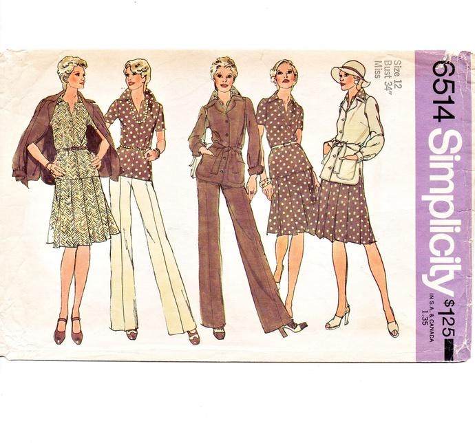 Simplicity 6514 Misses Jacket, Top, Skirt, Pants 70s Vintage Sewing Pattern Size